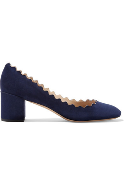Chloe suede pumps scalloped pumps navy suede shoes