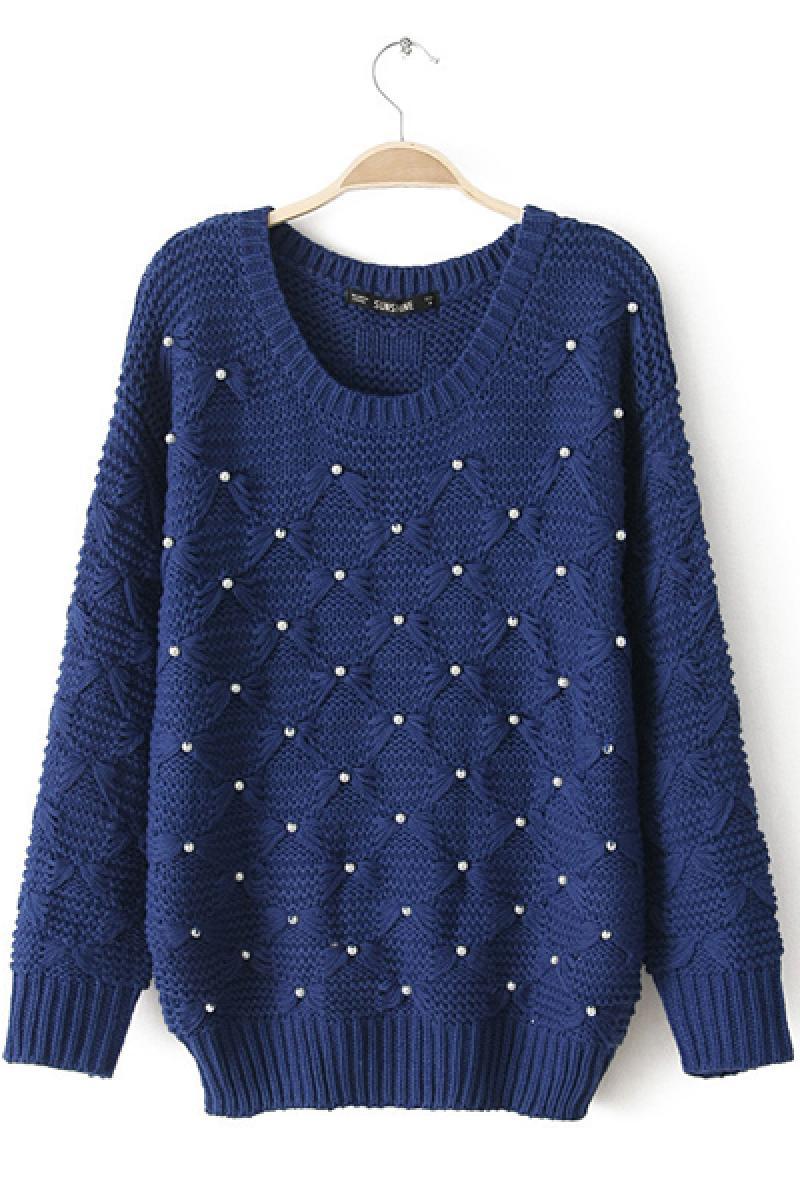 Handmade Beaded Long Sleeve Crew Neck Knitwear,Cheap in Wendybox.com