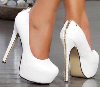 shoes high heels white zip stilettos