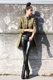 denni,chic muse,brown jacket,jacket,coat,streetstyle,army green jacket,cut,cool,style