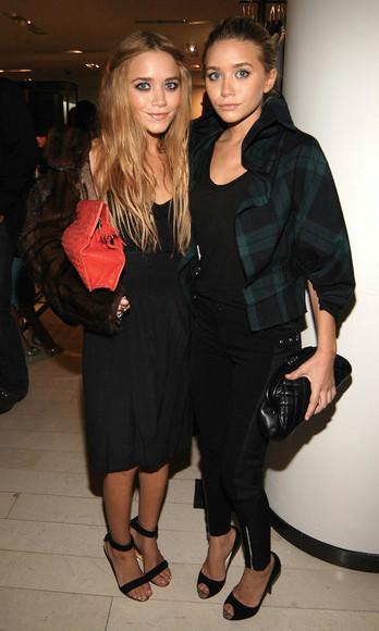 olsen sisters blogger jacket tartan sandals pouch bag