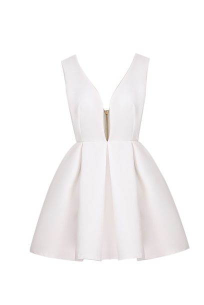 white dress dress beautiful wonderful princess dress PLL Ice Ball valentines day flare skater v ne v neck short dress prom dress robe blanche white short low cut dress low cut