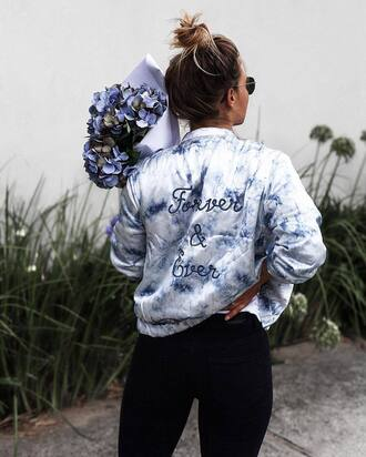 jacket tumblr customized quote on it bomber jacket satin bomber denim jeans black jeans flowers