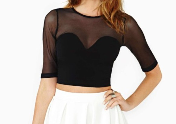 sweetheart neckline black top mesh