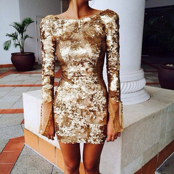 dress gold sequins gold perfect going out sequinned
