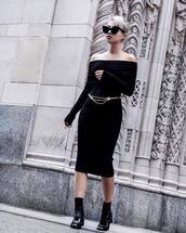 dress,tumblr,off the shoulder,off the shoulder dress,knitwear,midi knit dress,black dress,black midi dress,midi dress,long sleeves,long sleeve dress,bodycon dress,belt,boots,black boots,ankle boots,sunglasses,cat eye,black sunglasses,all black everything