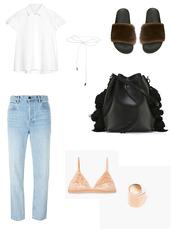 vasilieva,blogger,jeans,slide shoes,fur,bucket bag,white shirt,velvet bra,nude bra,choker necklace,straight jeans,light blue jeans,gold ring,outfit idea,minimalist,shoes