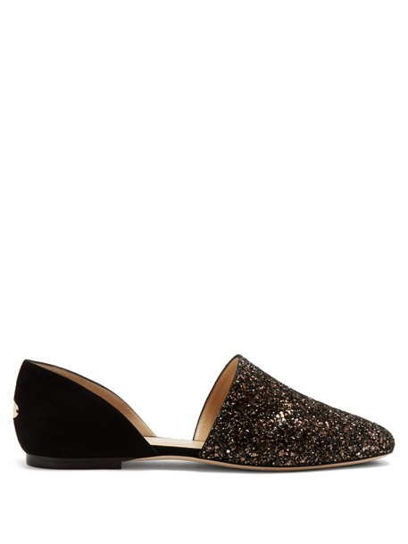 Jimmy Choo glitter flats suede silver black shoes