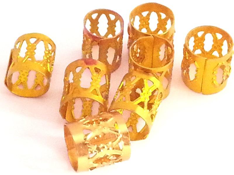 10 X Gold Dreadlock Hair Cuffs Bead Tube For Dreads