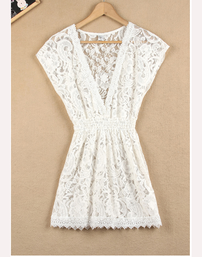 Sweet V-Neckline Short Sleeve Elastic Waistband Lace Mini Dress For Women, Shop online for $10.30 Cheap Dresses code 695297 - Eastclothes.com
