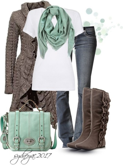 fall outfits boots cute ruffle