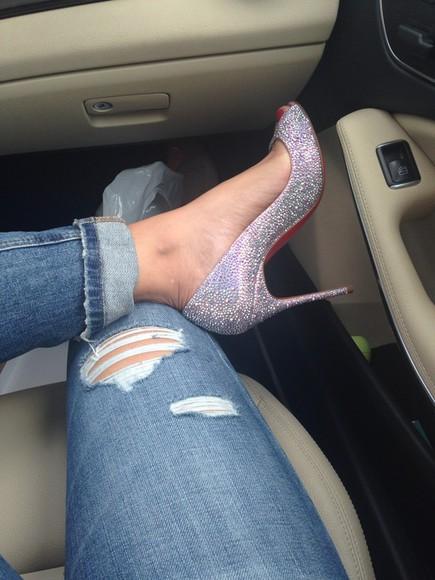 christian louboutin diamonds sexy shoes jeans