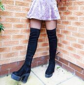 shoes,boots,winter outfits,oner the knee,knee boots,black,fashion,knee high boots,thigh high boots,over the knee boots,chunky sole,chunky heels,chunky boots