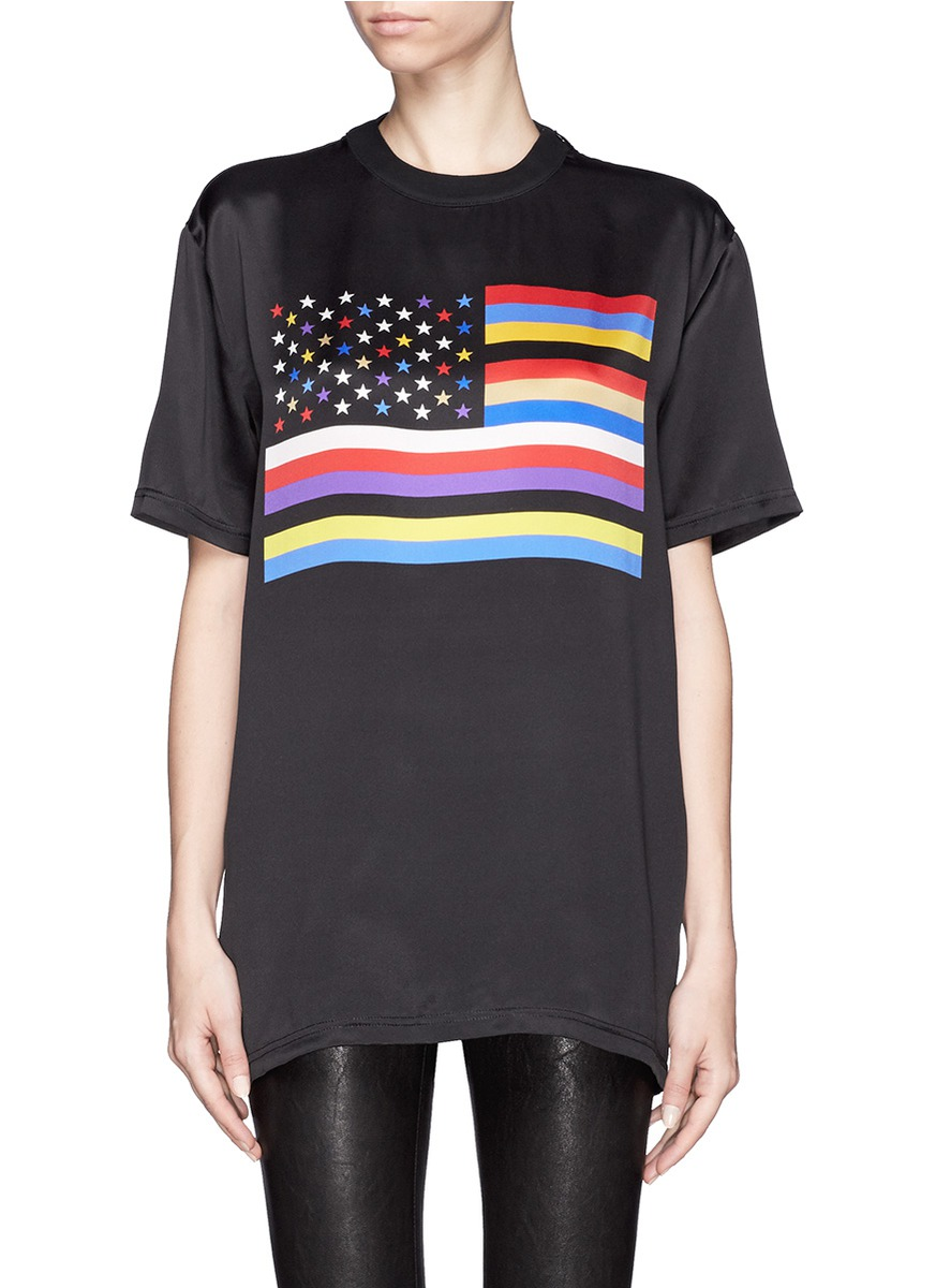 givenchy american flag print silk t shirt black t