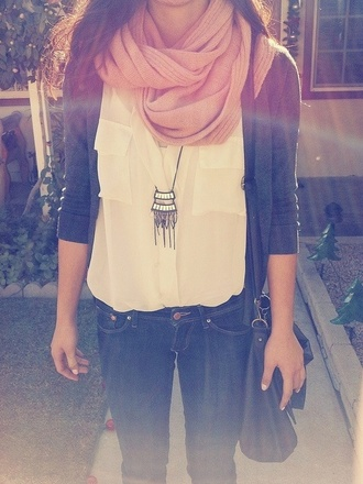 t-shirt white teenagers scarf pink jeans bag undefined clothes blogger fall outfits tumblr necklace cardigan coat jewels shirt blouse sweater top chambray peach scarf navy blue cardigan grey half sleeve pants swimwear