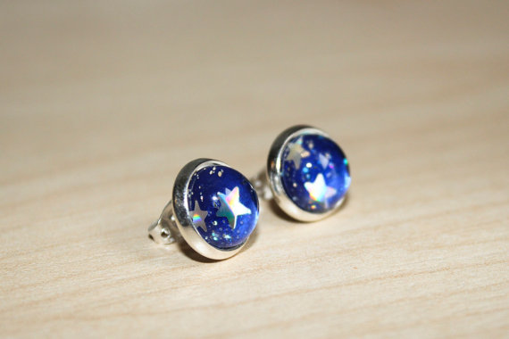 Blue space earrings with holographic stars and by symphonyofshiny