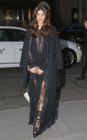 dress,lace dress,gown,prom dress,sara sampaio,model off-duty,all black everything