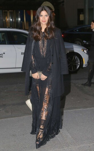 dress lace dress gown prom dress sara sampaio model off-duty all black everything