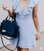 dress,tumblr,blue dress,stripes,striped dress,mini dress,ruffle,ruffle dress,bag,black bag