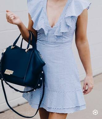 dress tumblr blue dress stripes striped dress mini dress ruffle ruffle dress bag black bag