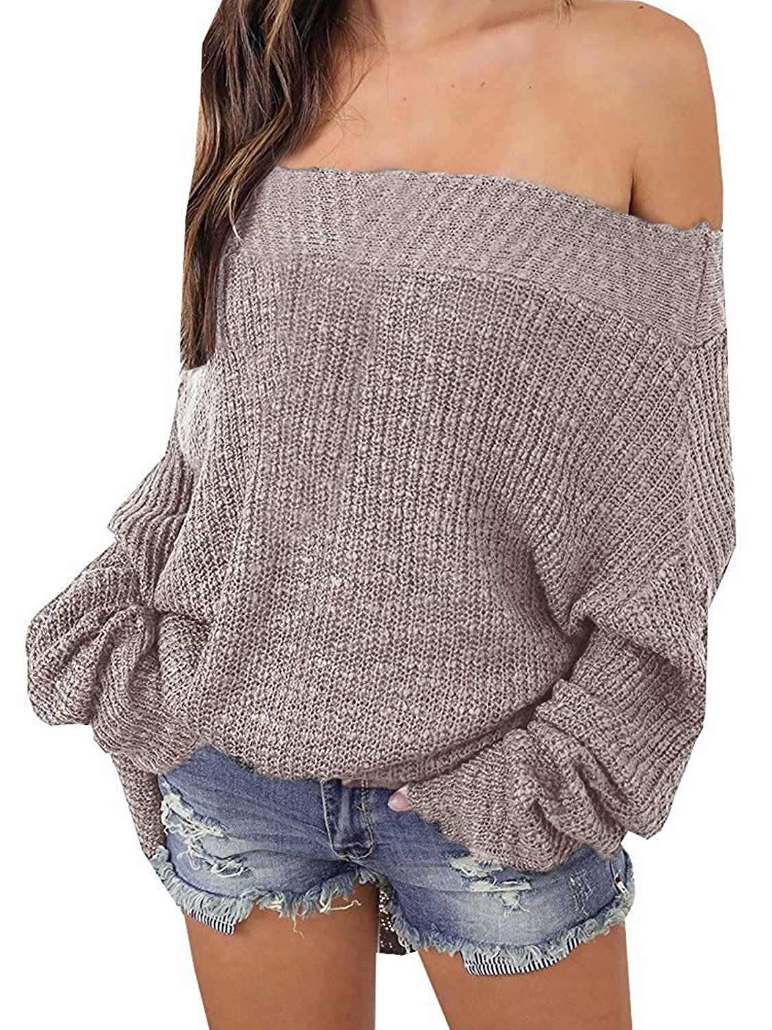 Ruanyu Women's Casual Off Shoulder Loose Pullover Sweater Knit Jumper at Amazon Women's Clothing store: