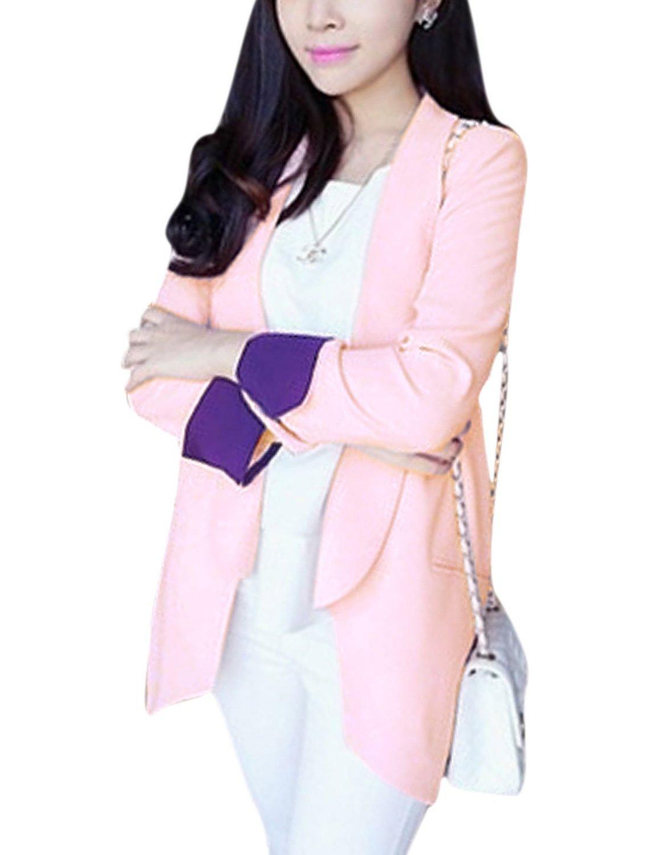 Women buttonless design long sleeves blazer jacket light pink xs at amazon women's clothing store: