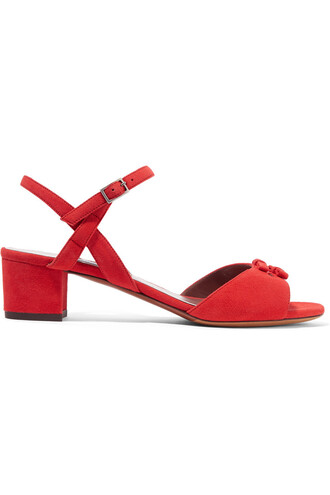 bow embellished sandals suede red shoes