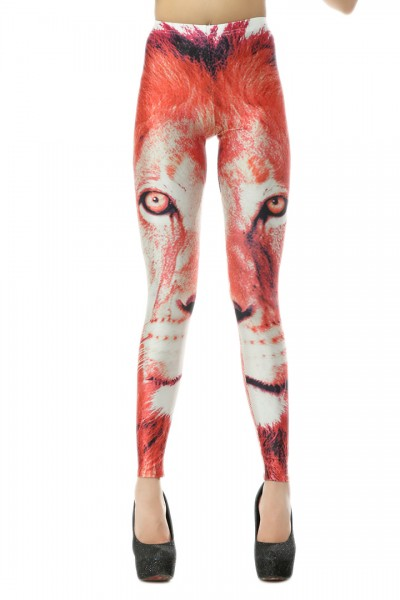 KCLOTH Wolf Printed Red Slim Fit Leggings