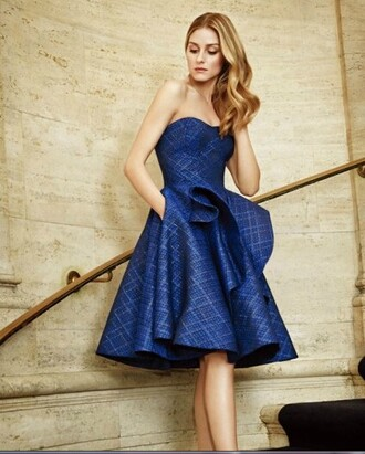 dress classy formal strapless navy olivia palermo zac posen blue dress