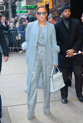 top,sequins,sequin shirt,pants,two piece dress set,two-piece,celebrity,jennifer lopez,coat