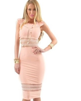 dress peach dress creamy pink bodycon dress