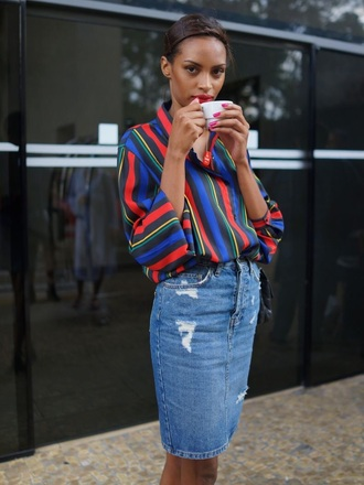 skirt denim high waisted pencil skirt denim skirt ripped denim pencil blouse multicolor stripes striped top striped shirt colorful shirt top tumblr tumblr girl tumblr shirt instagram style cute sixth form button down shirt royal blue red lipstick office outfits black girls killin it
