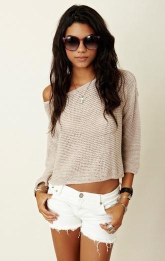 sweater nude peach crop tops cute top off the shoulder sweater top