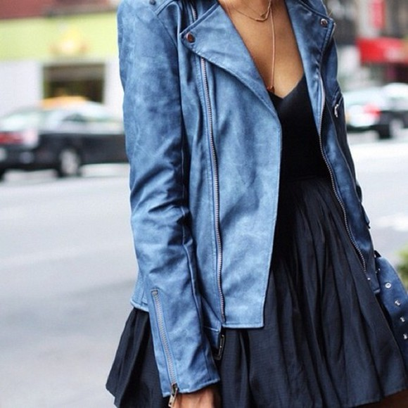jacket perfecto leather coat blue rock