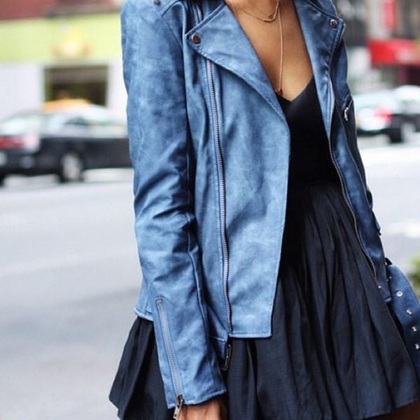 coat blue leather perfecto jacket rock spring jacket