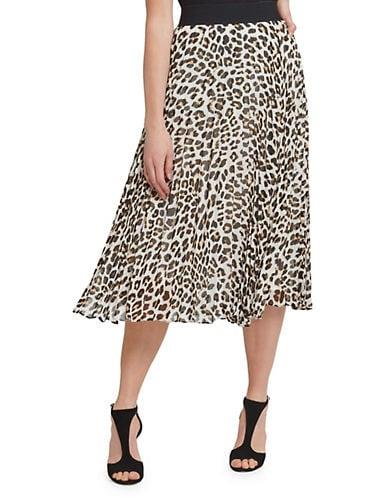 DKNY Women's Leopard-Print Pleated Midi Skirt - Beige - Size M
