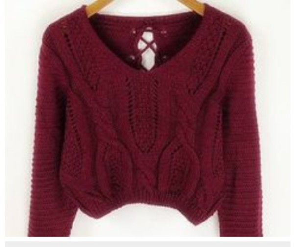 sweater red knit knitwear blouse crop tops burgundy fall outfits cropped sweater top gamiss knitwear style fashion warm long sleeves fall outfits trendsgal.com trendy