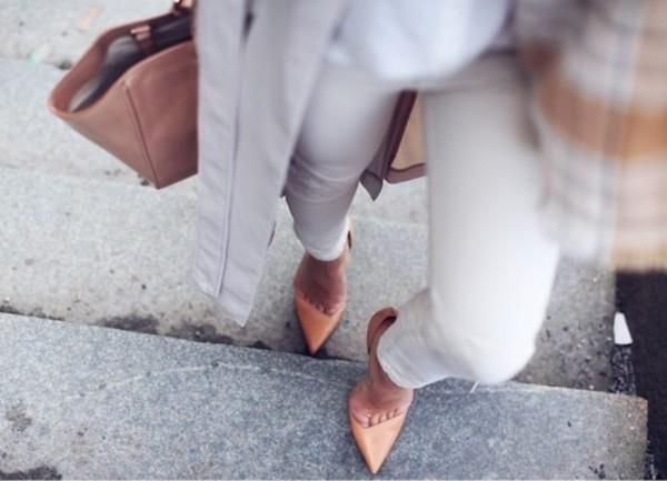 shoes jeans jacket asymmetrical pumps nude beige burnt orange asymmetrical