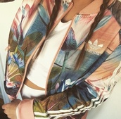 blouse,jacket,adidas jacket,sportswear,adidas,print,gorgeous,style,fashion,cute,flawless,girl,guys,coat,pink,floral