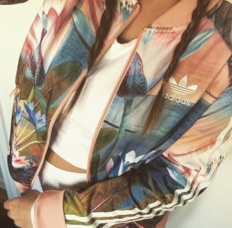 blouse jacket adidas jacket sportswear adidas print gorgeous style fashion cute flawless girl guys coat pink floral