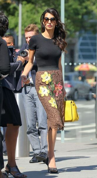 skirt lace midi skirt amal clooney top pumps streetstyle