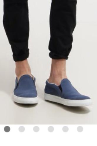 shoes menswear mens shoes blue white slip on shoes