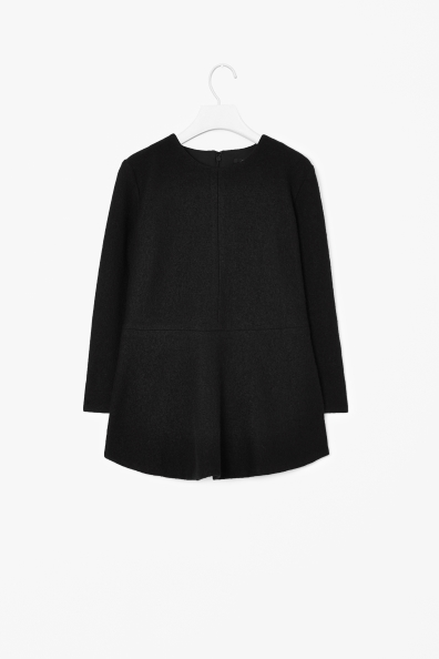 Boiled wool peplum top