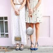 skirt,tumblr,maxi skirt,white skirt,stars,white dress,dress,mini dress,watch,bag,round bag,silver,silver bag,clutch,metallic clutch,high heels,shoes,blue shoes,lace up,lace up heels,bff,matching set,strappy shoes,wedding clothes,wedding