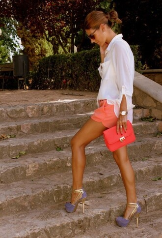 shirt shorts bag blouse shoes high heels heels purple gold coral orange