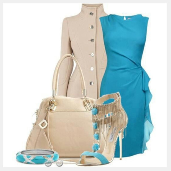 bracelet bangle dress coat jacket high heels bag clothes outfit blue dress short sleeve dress sleeveless dress tapered side gathered side purse heel strap heels high neck coat