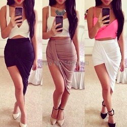 Online Shop 2014 Free shipping NEW ARRIVALS Irregular fashion low waist skirt 4 COLOR for women LQ9312|Aliexpress Mobile
