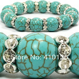 SBR240 Classic Turquoise Bracelet Stretch Bangle&Bracelet 10mm Round Beads with 8mm Clear Rhinestone Wheel Birthday Gift -in Strand Bracelets from Jewelry on Aliexpress.com