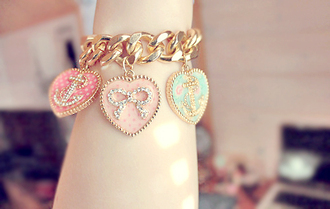 gold bracelets anchor bow teal pink hot pink links jewels