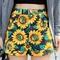 Sunflower print high waist denim shorts in black - choies.com